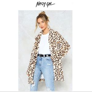 Nasty Gal Leopard Faux Fur Coat Size 4, NWT